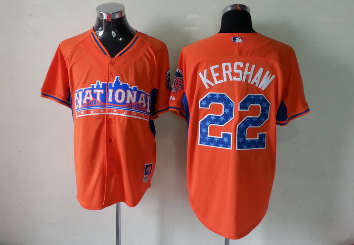 Dodgers 22 Kershaw orange 2013 All Star Jerseys