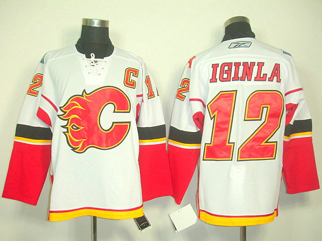 Flames 12 Iginla White C Patch Jerseys