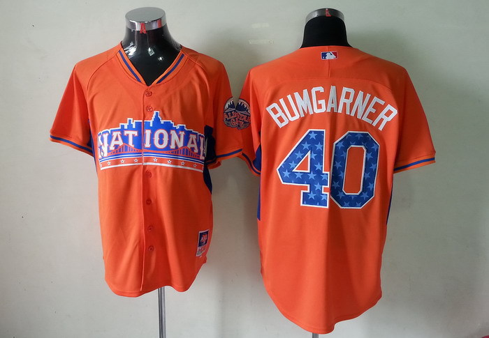 Giants 40 Bumgarner orange 2013 All Star Jerseys