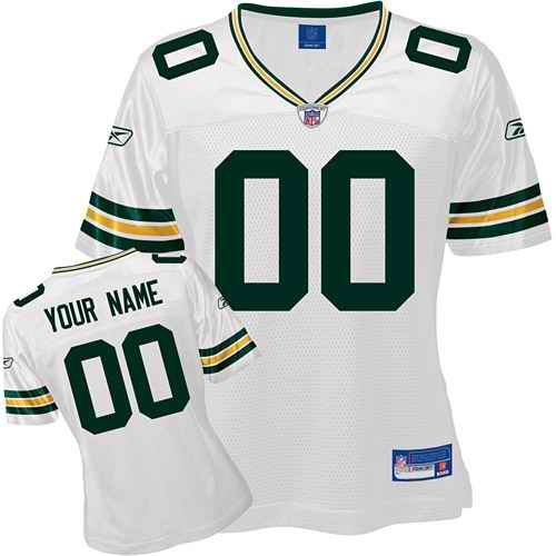 Green Bay Packers Women Customized White Jersey