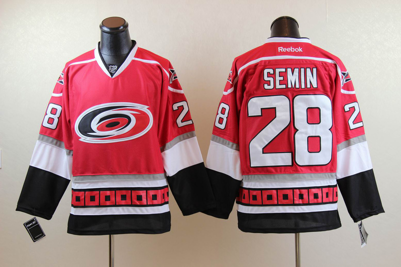 Hurricanes 28 Semin Red Jerseys