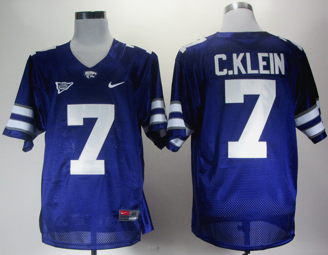 Kansas State 7 Collin Klein Big 12 Patch Purple Jerseys