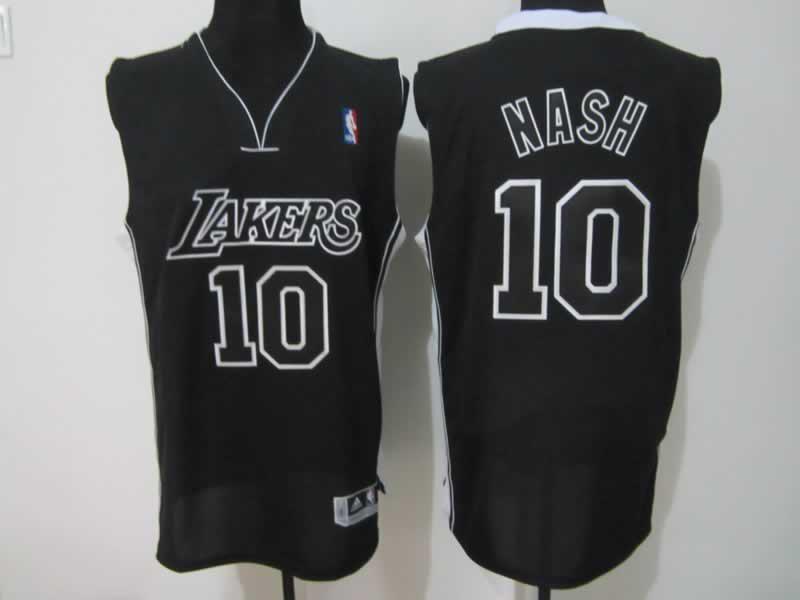 Lakers 10 Nash Black Jerseys