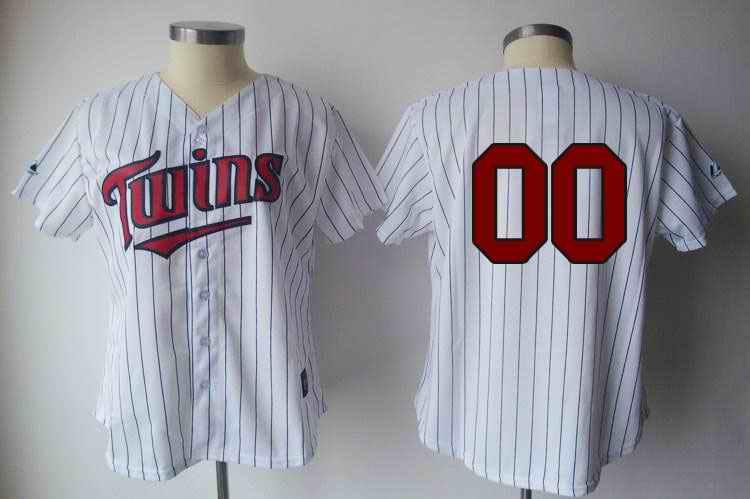 Minesota Twins Blank White Blue Strip Women Custom Jerseys