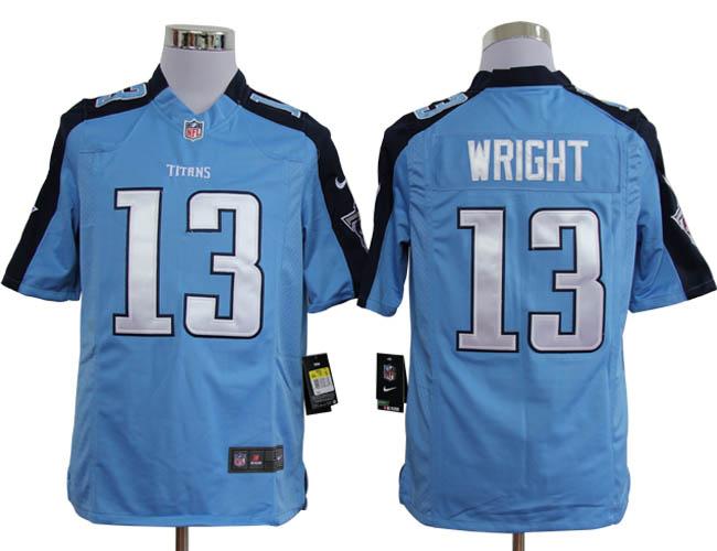 NIKE Titans 13 WRIGHT sky Blue Game Jerseys