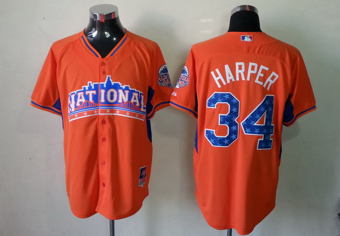 Nationals 34 Harper orange 2013 All Star Jerseys