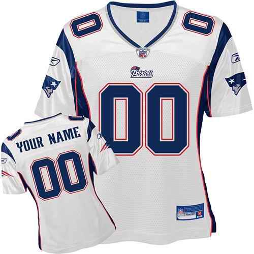 New England Patriots Women Customized White Jersey