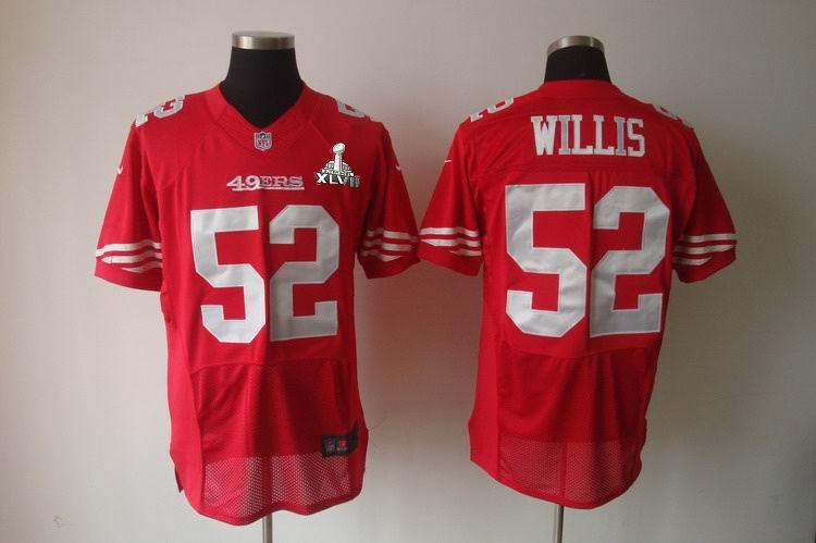 Nike 49ers 52 Willis Red Elite 2013 Super Bowl XLVII Jersey
