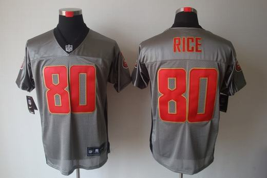 Nike 49ers 80 Rice Grey Elite Jerseys