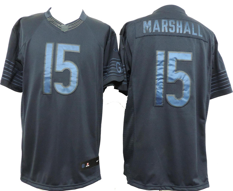 Nike Bears 15 Marshall Blue Drenched Limited Jerseys