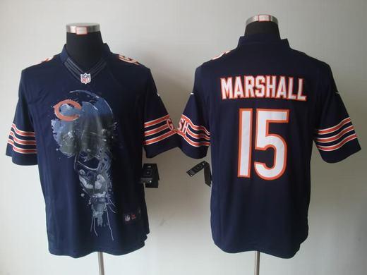 Nike Bears 15 Marshall Blue Helmet Tri-Blend Limited Jerseys