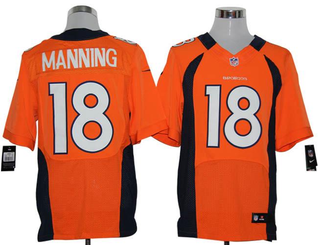 Nike Broncos 18 Peyton Manning Orange Elite Jersey