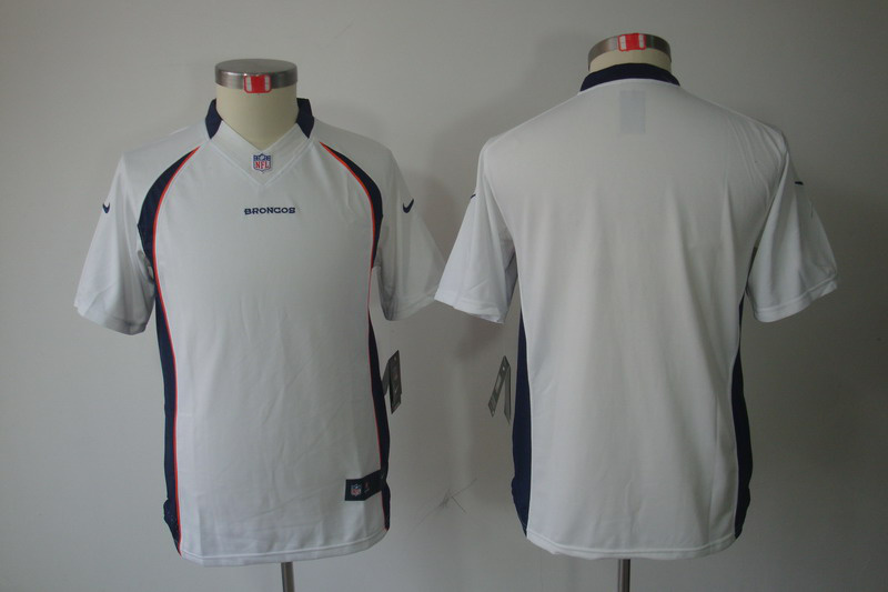 Nike Broncos Blank White Kids Limited Jerseys