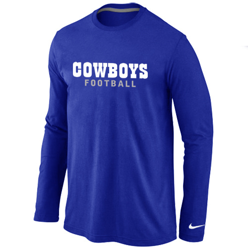 Nike Dallas Cowboys font Long Sleeve T-Shirt blue