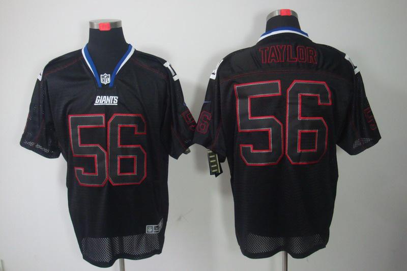 Nike Giants 56 Taylor Black Elite Jerseys