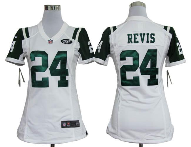 Nike Jets 24 Revis White Women Game Jerseys