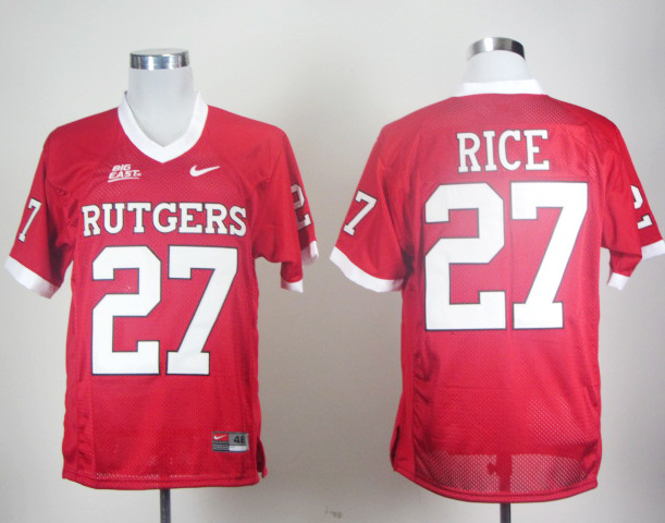 Nike NCAA Rutgers Scarlet Knights RICE 27 Red Men Jerseys