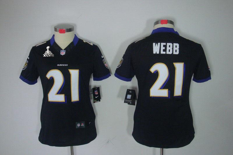 Nike Ravens 21 Webb Black Women Limited 2013 Super Bowl XLVII Jersey