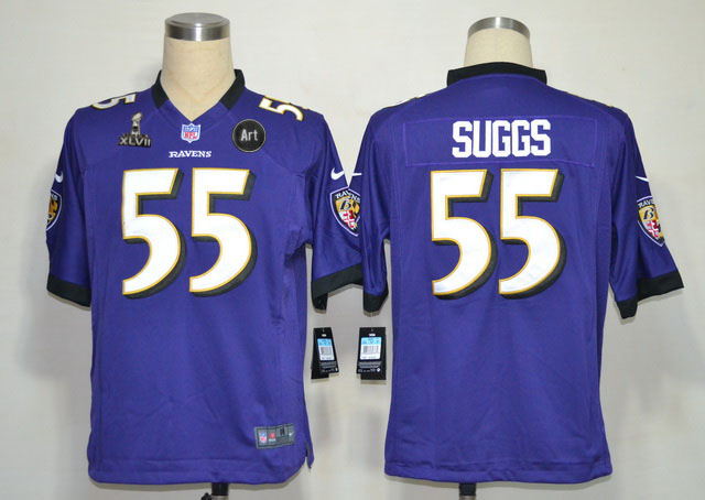 Nike Ravens 55 Suggs purple Game 2013 Super Bowl XLVII and Art Jerseys
