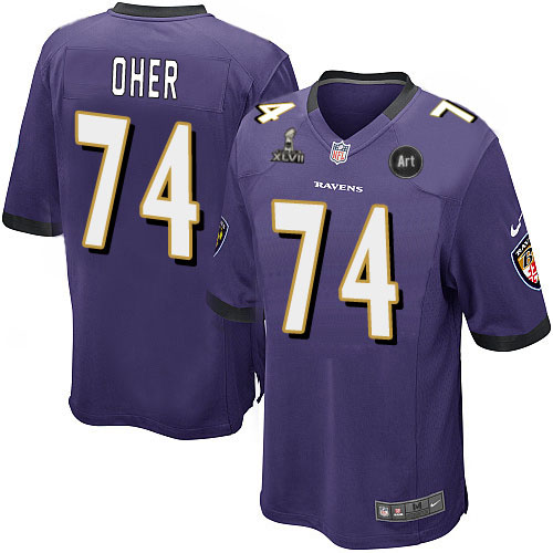 Nike Ravens 74 Oher purple Game 2013 Super Bowl XLVII and Art Jerseys