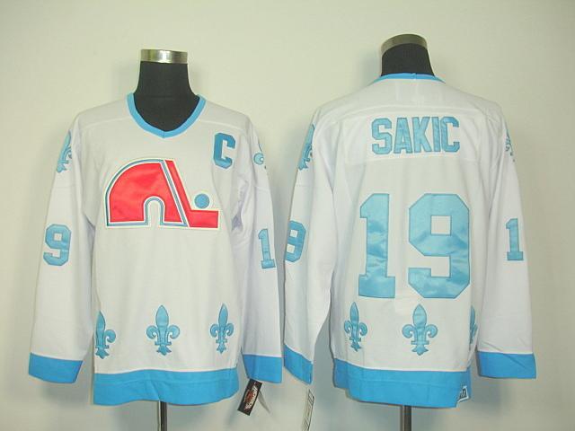 Nordiques 19 Sakic white Jerseys
