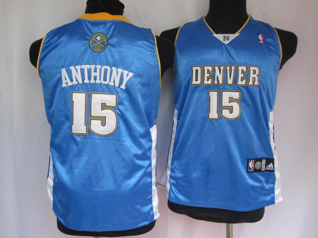 Nuggets 15 Anthony Baby Blue Jersey