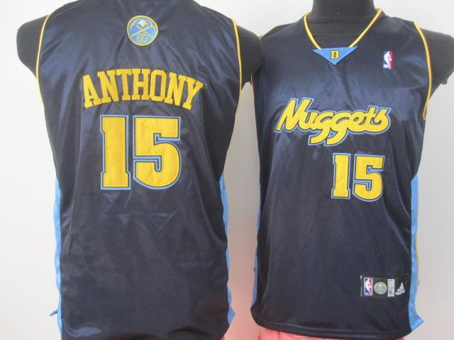 Nuggets 15 Anthony Dark Blue Youth Jersey