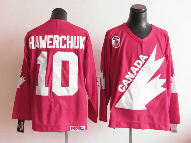 Olympic Team Canada 10 Hawerchuk Red CCM Jerseys