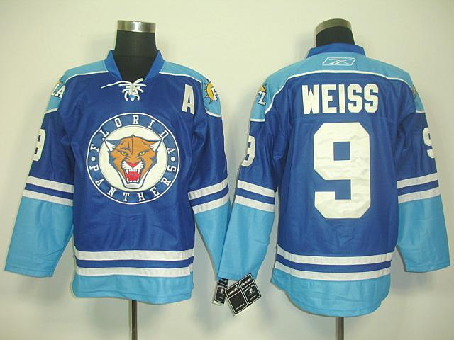 Panthers 9 Weiss Blue Jerseys