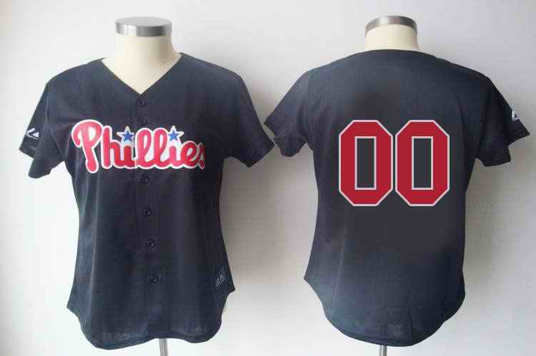 Philadelphia Phillies Blank Black Women Custom Jerseys