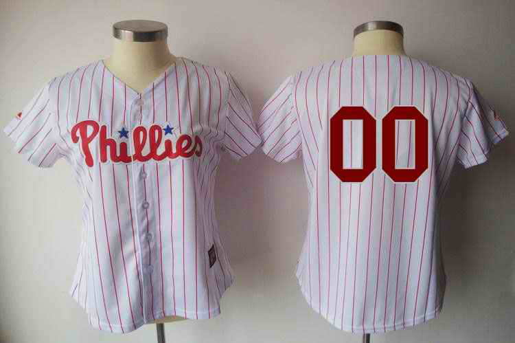 Philadelphia Phillies Blank White Red Strip Women Custom Jerseys