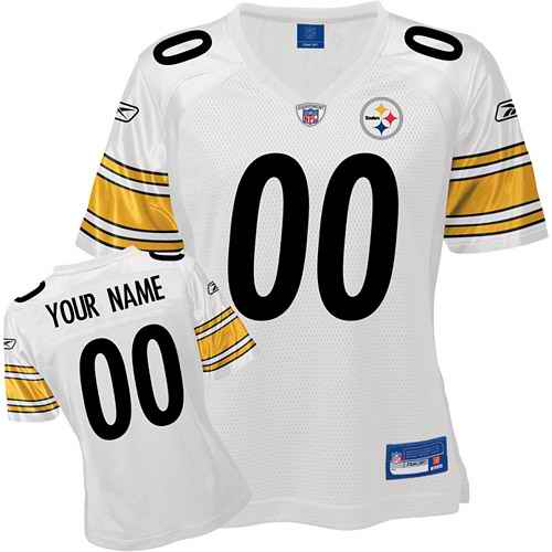 Pittsburgh Steelers Women Customized White Jersey