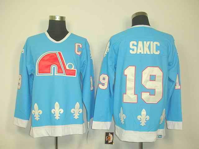 Quebec Nordiques 19 Sakic Lt.blue jerseys