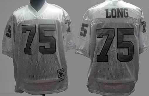 Raiders 75 Long white silver m&n Jerseys