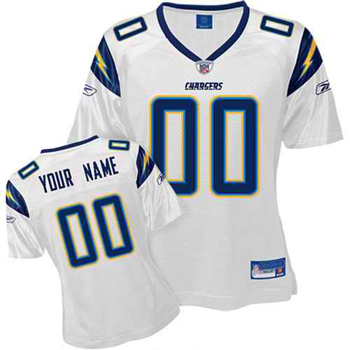 San Diego Chargers Women Customized White Jersey