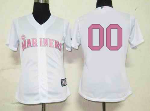 Seattle Mariners Blank White Pink Number Women Custom Jerseys