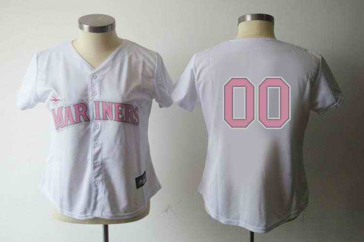 Seattle Mariners Blank White Pink Number Women Jerseys