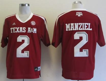Texas A&M Aggies 2 Johnny Manziel red Jerseys