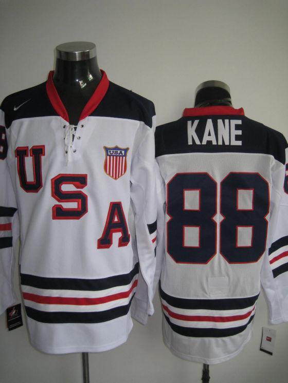 USA 88 Kane White Slant Jerseys