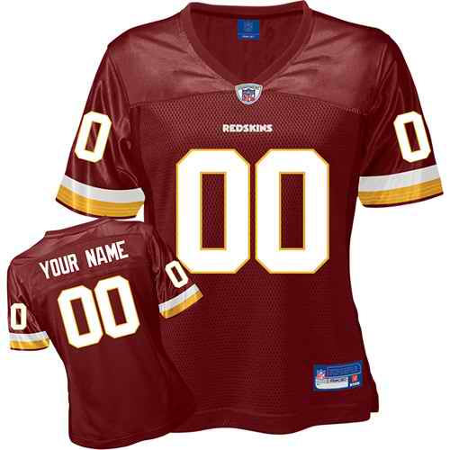 Washington Redskins Women Customized Red Jersey