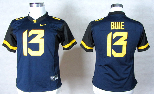 West Virginia Mountaineers 13 Andrew Buie Blue Women Jerseys