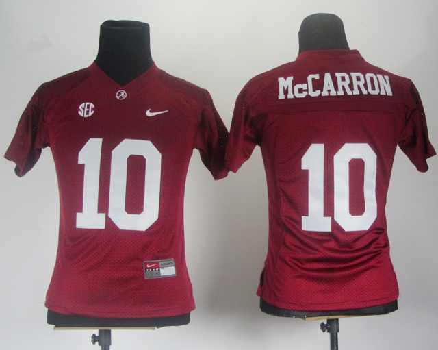 Women Alabama Crimson Tide 10 McCarron Red 2012 SEC Patch Jerseys