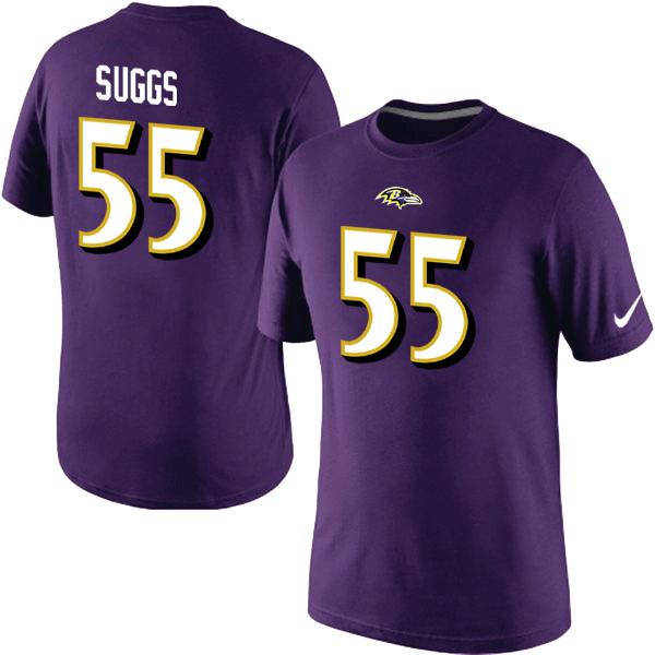 Nike Ravens 55 Sugg Purple Fashion T Shirts2