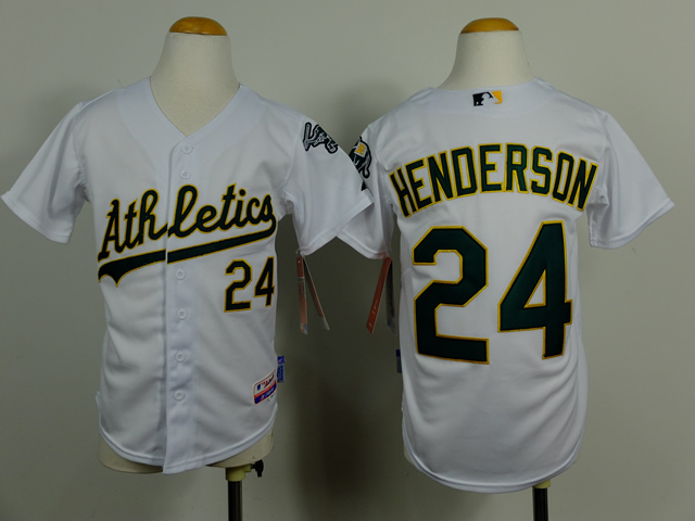 Athletics 24 Henderson White Youth Jersey