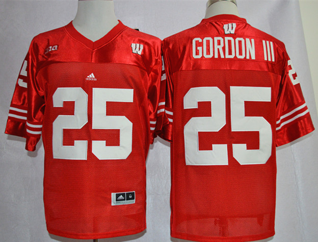 Wisconsin Badgers 25 Melvin Gordon III Red Jerseys