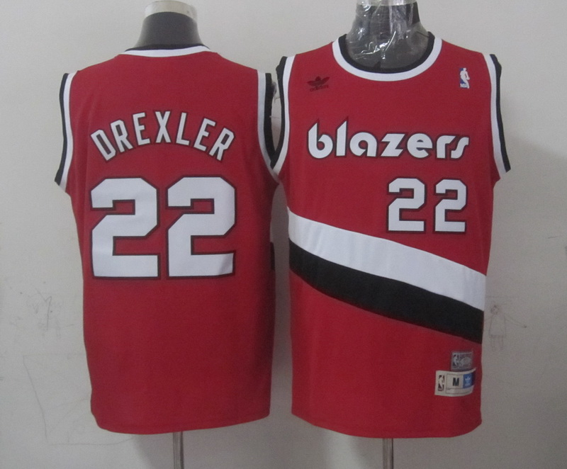 Blazers 22 Drexler Red Hardwood Classics Swingman Jerseys