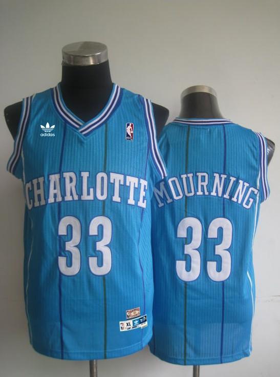 Hornets 33 Mourning Blue Hardwood Classics Jerseys