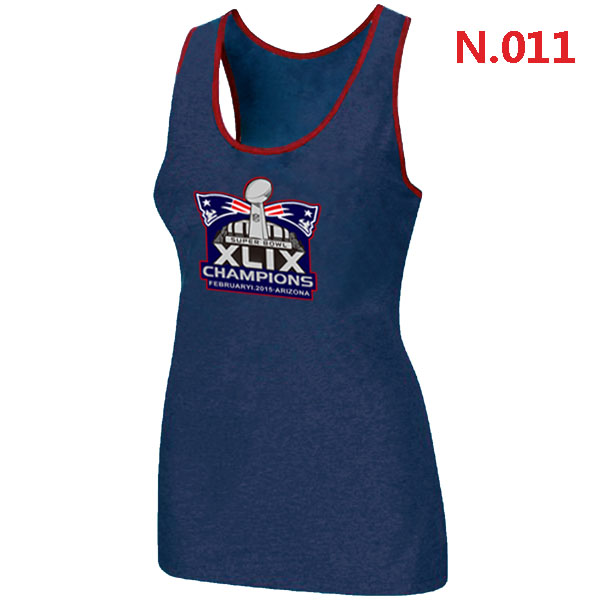 New England Patriots Majestic Super Bowl XLIX Champion Mark Women Tank Top Blue