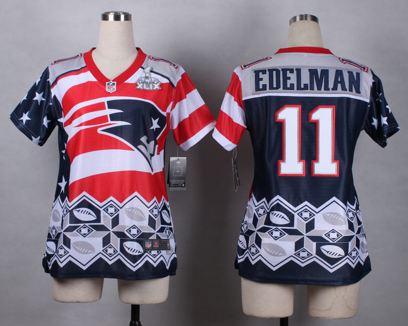 Nike Patriots 11 Edelman Noble Fashion 2015 Super Bowl XLIX Women Jerseys
