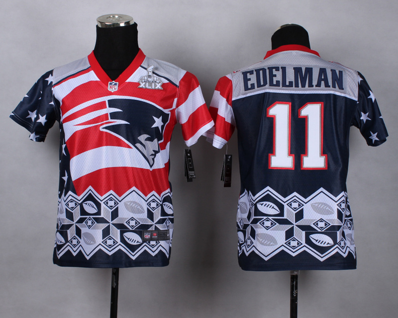 Nike Patriots 11 Edelman Noble Fashion 2015 Super Bowl XLIX Youth Jerseys